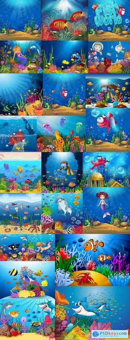 Underwater world illustration for the childrens book literature fairy tale 25 EPS