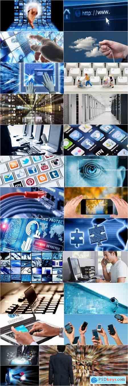 High-tech IT technology computer tablet phone communication network 25 HQ Jpeg