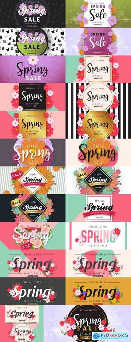 Spring discount flyer banner sale invitation card 25 EPS