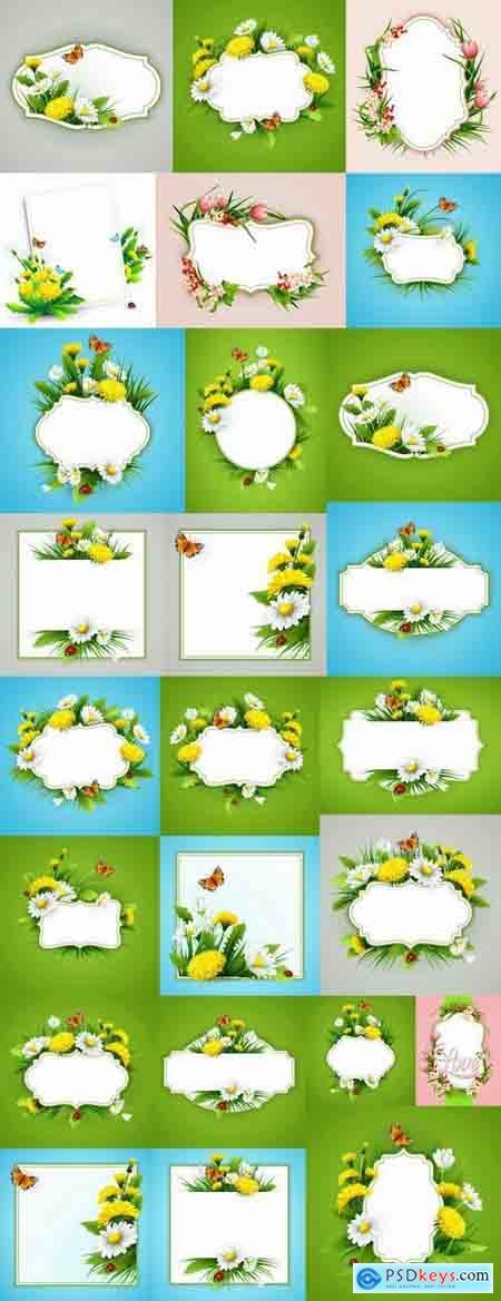 Daisy dandelion tulip flower petal spring flyer banner frame bekraund 25 EPS