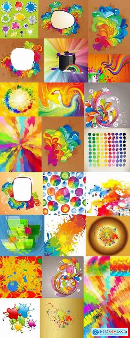 Multicolored rainbow flyer background is colors vector image 25 EPS