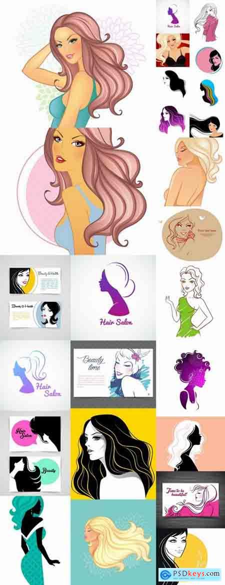 Posters of women's hairstyles vector images 25 Eps