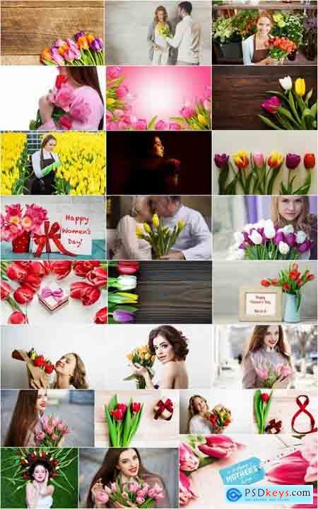 Woman with tulip Mother's Day Women's Day flowers 25 HQ Jpeg