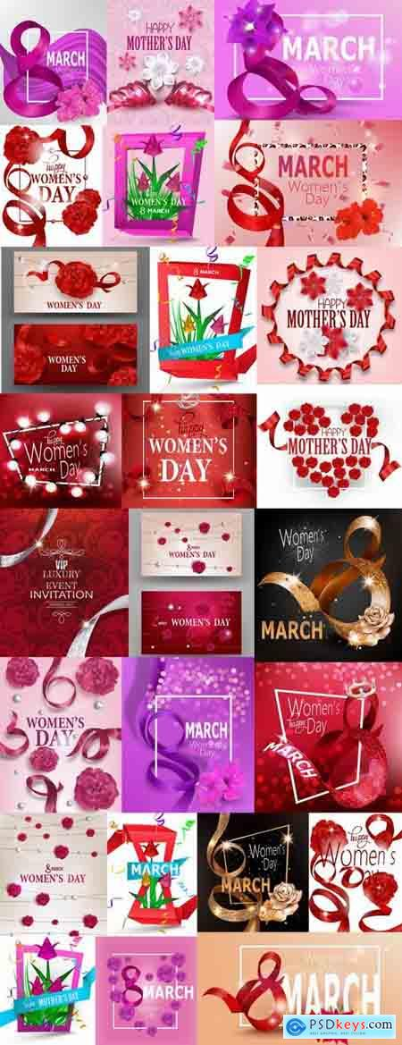 8 March International Women's Day invitation card flyer banner 25 EPS
