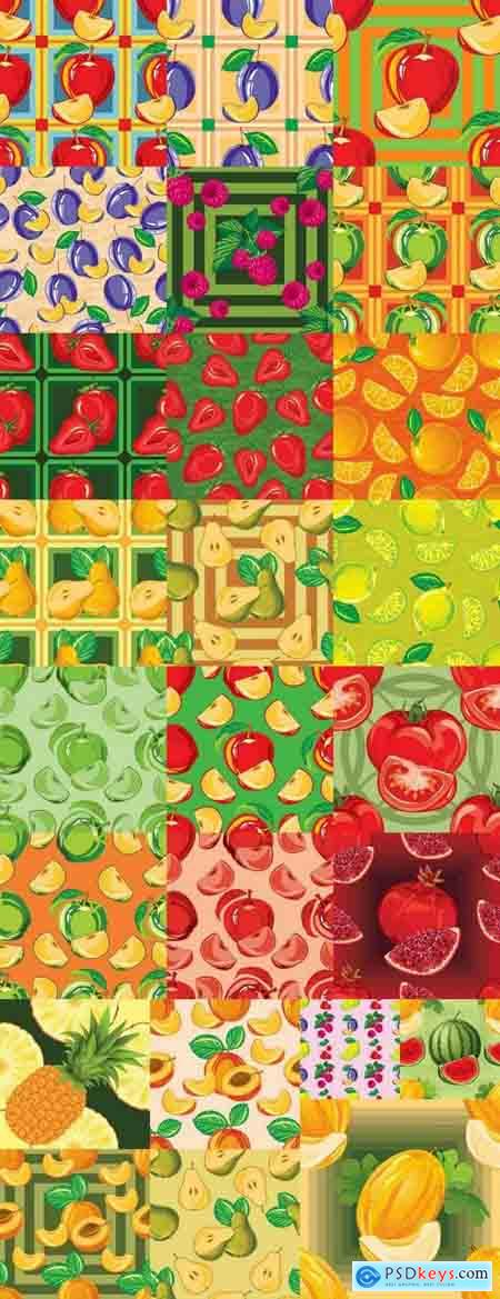 Background is a vegetable fruit berry wallpaper pattern 25 EPS