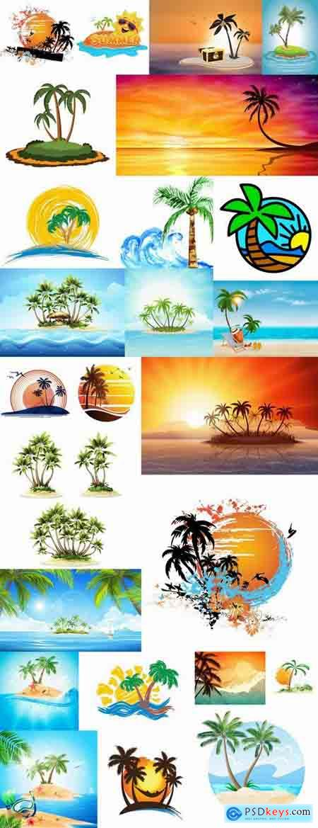 Tropical palm island ocean sunrise sunset tourism travel banner flyer 25 EPS