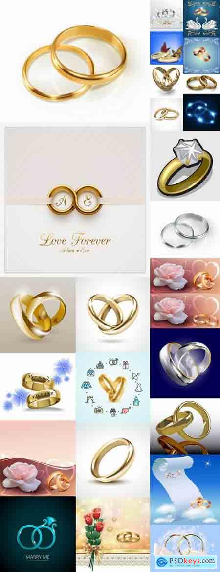 Wedding rings ring wedding invitation card 25 EPS » Free