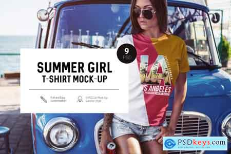 Thehungryjpeg Summer Girl T-Shirt Mock-Up