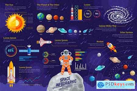Space Infographic PSD and AI Vector Template