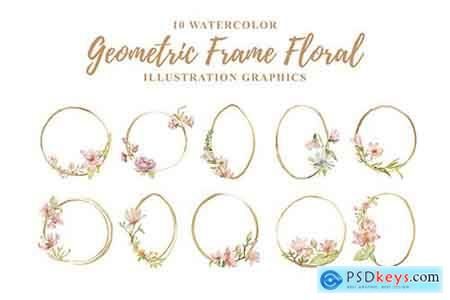 10 Watercolor Geometric Frame Floral Illustration
