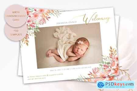 Creativemarket Birth Announcement Card Template #1