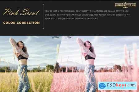 Thehungryjpeg Neo Pink Scent Color Grading photoshop actions