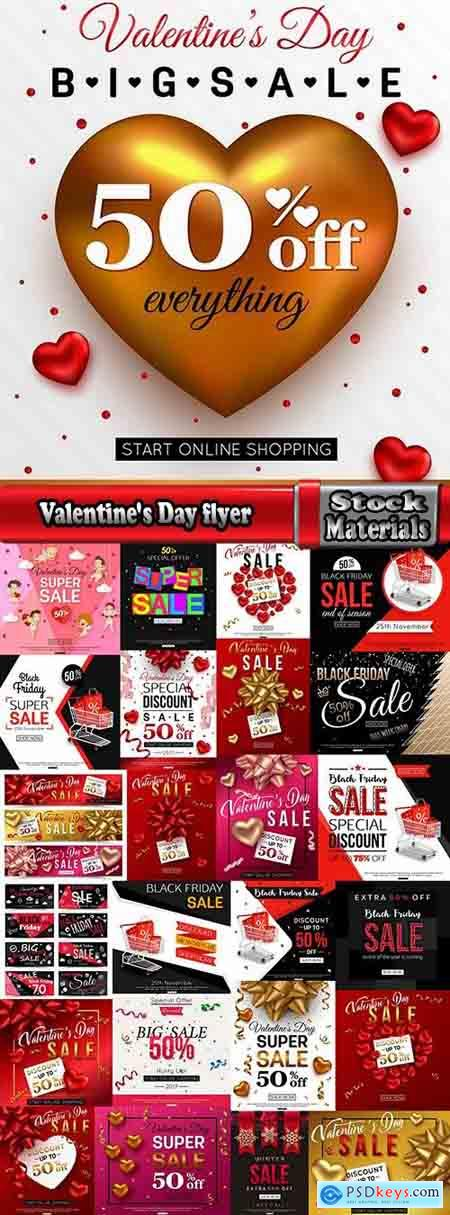 Valentine's Day flyer banner Black Friday discount sale vector image 25 EPS