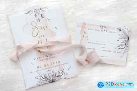Thehungryjpeg Peach & Grey Floral Wedding Suite