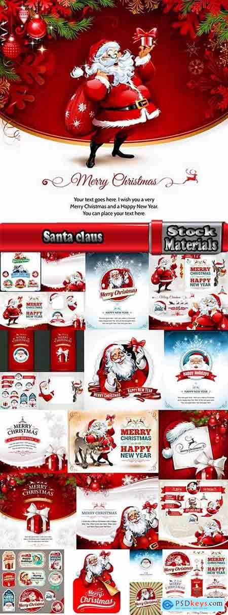 Santa claus reindeer sticker new year Christmas label 25 EPS