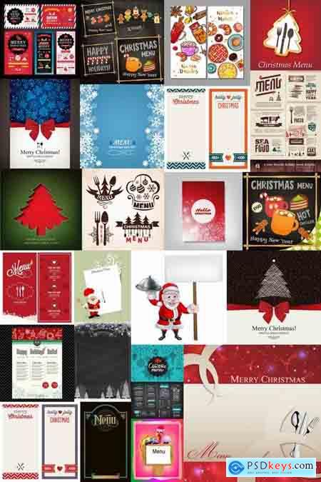 Christmas menu flyer banner food restaurant New Year holiday 25 EPS