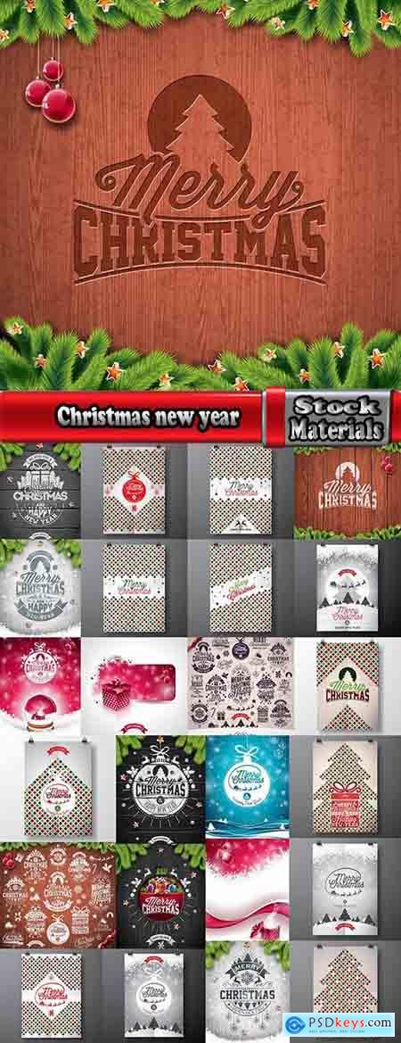 Christmas new year sticker banner flyer cover gift card vector image 25 EPS
