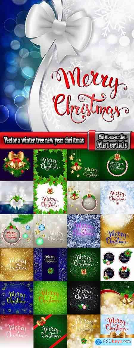 Vector a background picture winter tree new year christmas 2-25 EPS