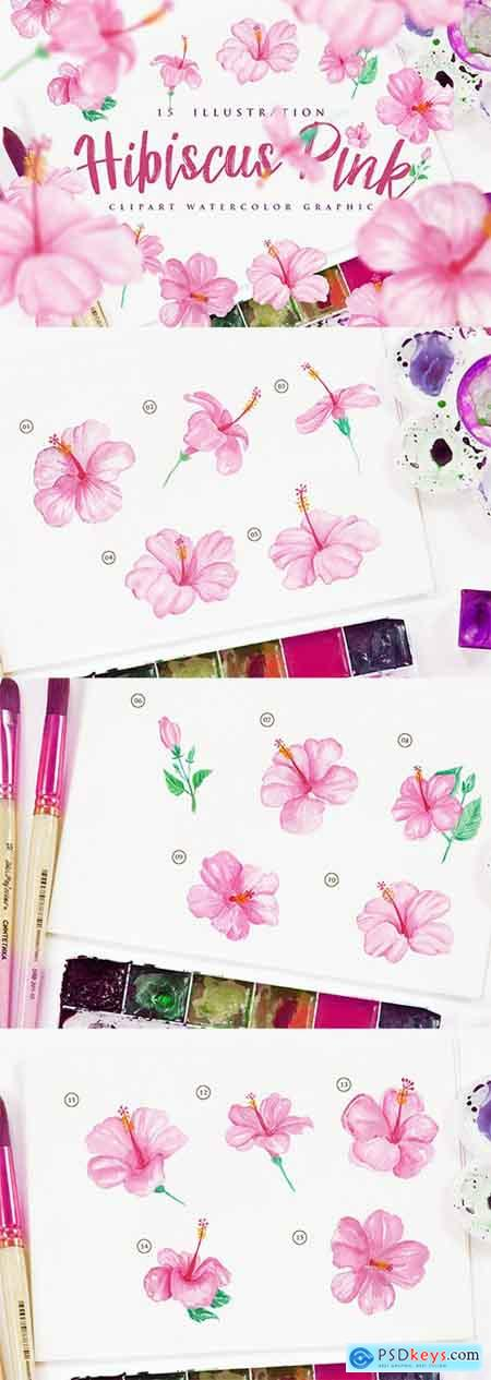 15 Watercolor Hibiscus Pink Flower Illustration