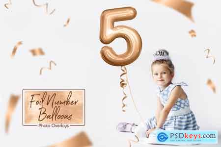 Creativemarket Foil Number Balloons Photo Overlays