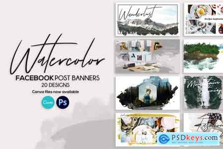 Creativemarket Facebook Post Banners Watercolor