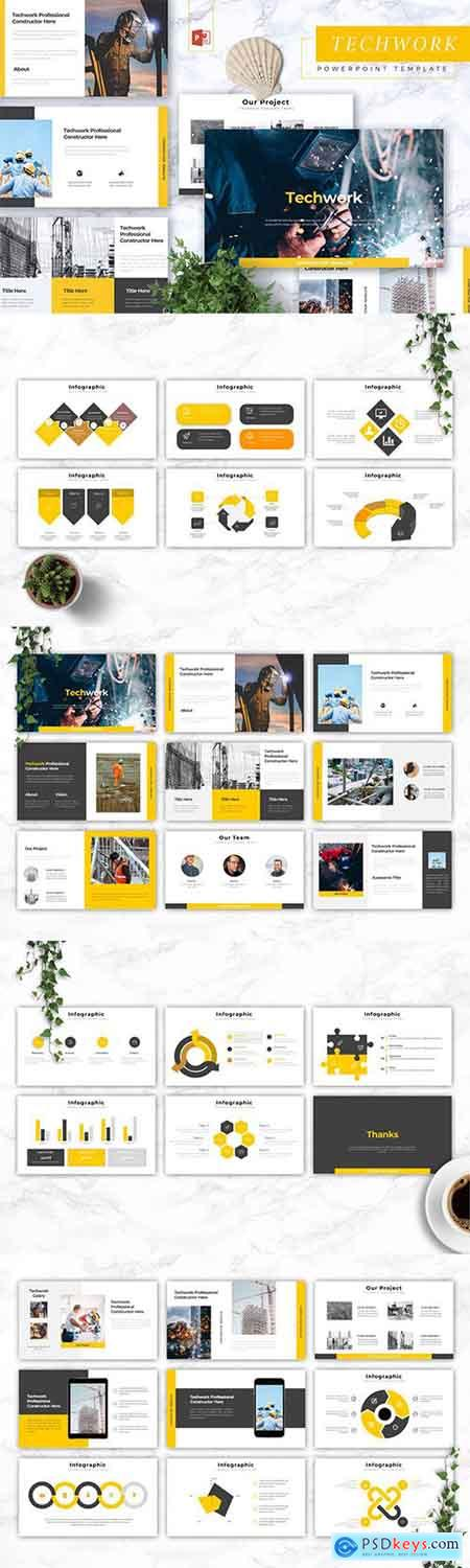 TECHWORK - Construction Powerpoint, Keynote and Google Slides Templates