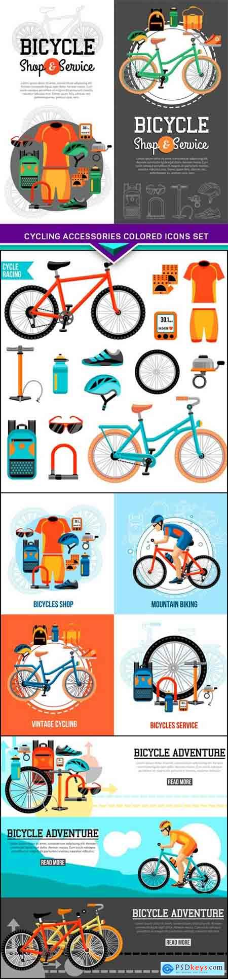 Cycling accessories colored icons set 4X EPS