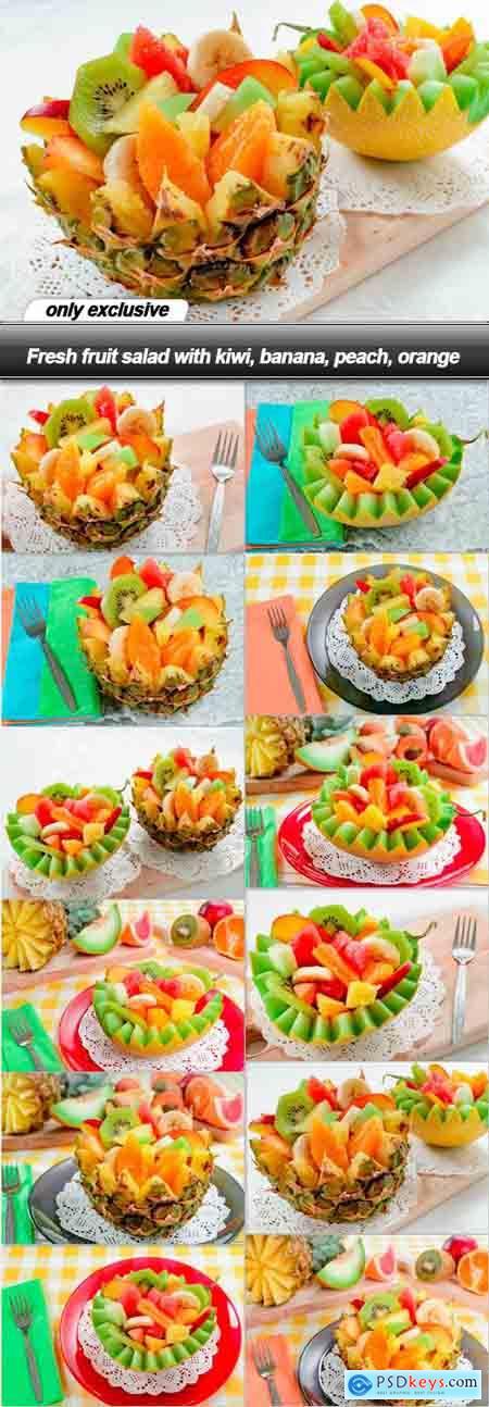 Fresh fruit salad with kiwi, banana, peach, orange - 12 UHQ JPEG