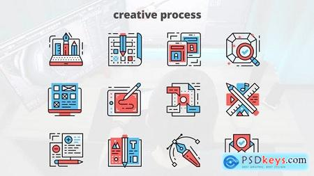 Videohive Creative Process – Thin Line Icons