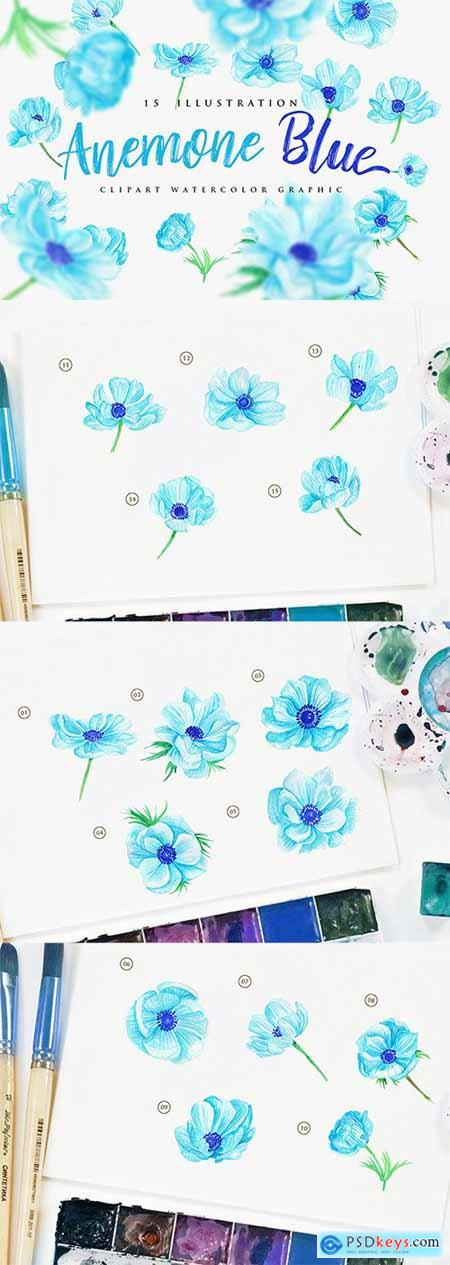 15 Watercolor Anemone Blue Flower Illustration