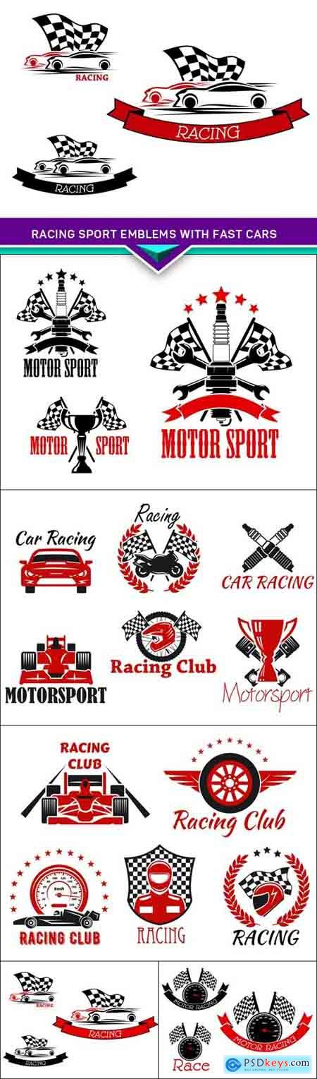 Racing sport emblems with fast cars 5X EPS
