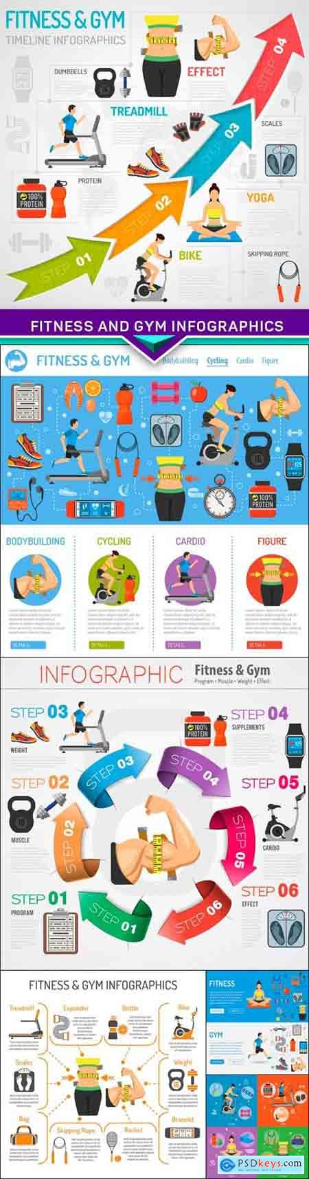 Fitness and Gym Infographics 6X EPS