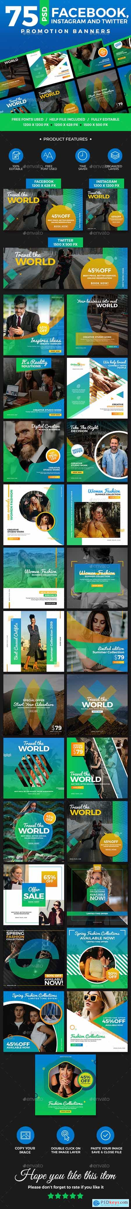 Graphicriver 75 Facebook, Instagram & Twitter Multipurpose Banners