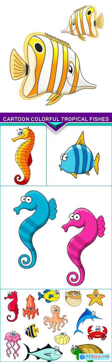 Cartoon colorful tropical fishes 5X EPS