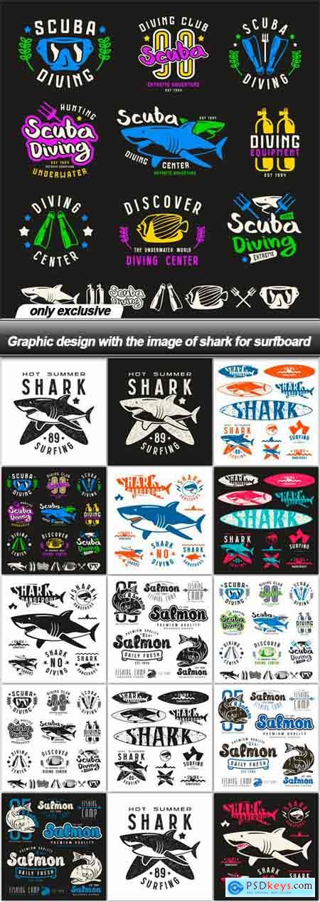 Graphic design with the image of shark for surfboard - 14 EPS