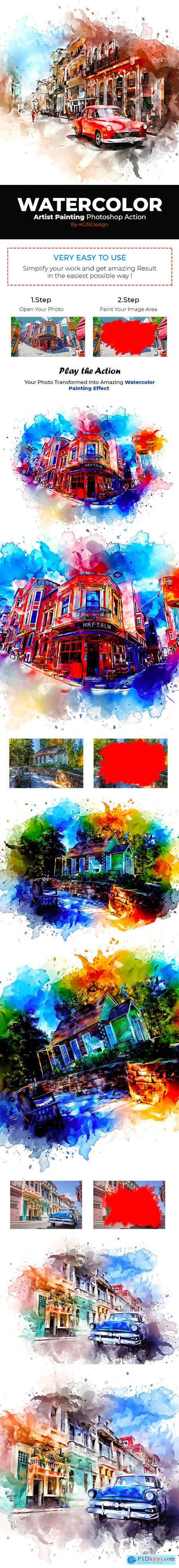 Graphicriver Watercolor Artist Painting Photoshop Action
