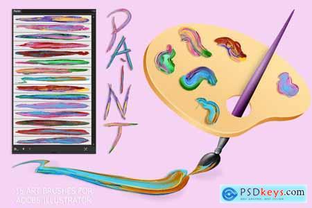 Creativemarket Paint Brushes for Illustrator