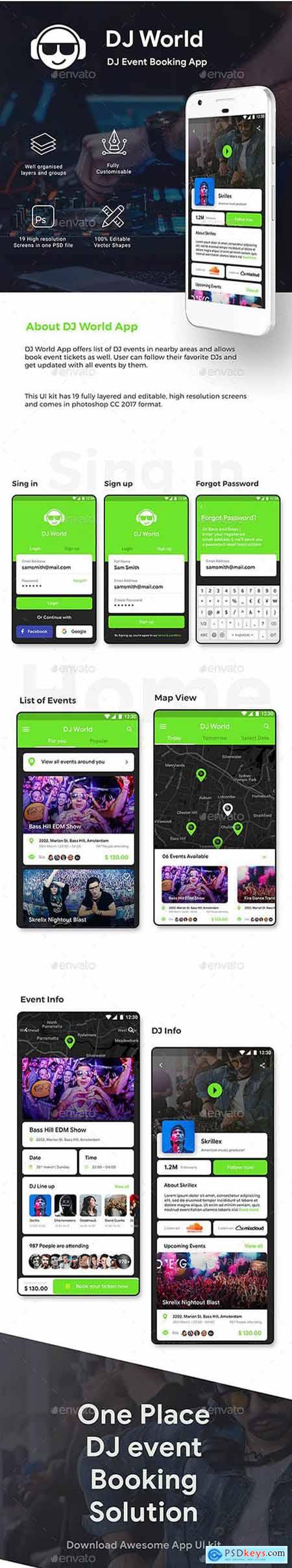Graphicriver DJ Event Booking App UI Kit DJ World