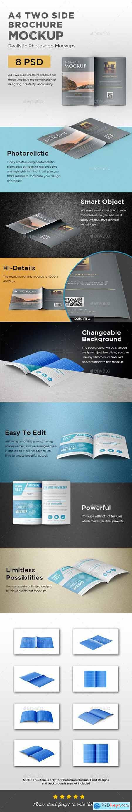 Graphicriver A4 Two Side Folded Brochure Mockup