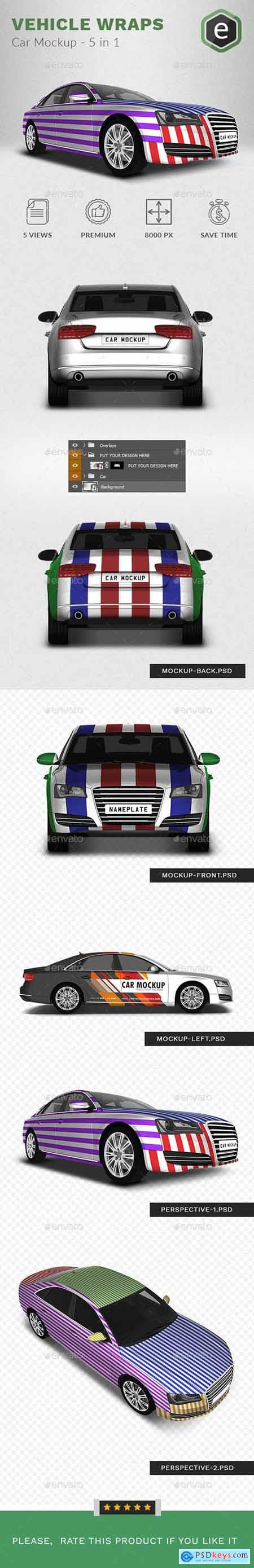 Graphicriver Car Mockup Based on Audi A8 - 5 In 1