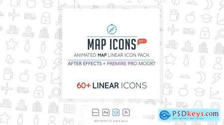 Videohive Map Linear Icon Pack Free