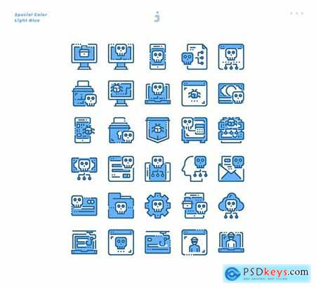30 Cyber Crime Icons - Light Blue