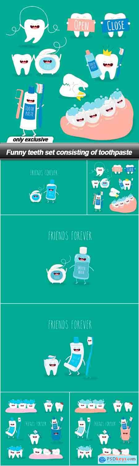 Funny teeth set consisting of toothpaste - 7 EPS