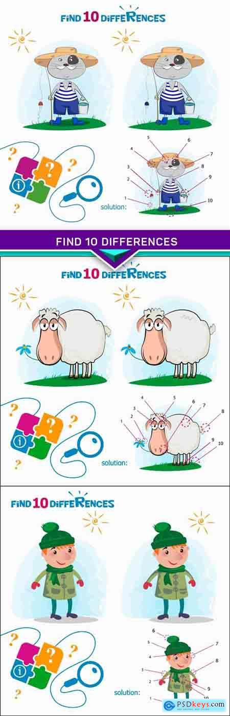 Find 10 differences for the children's magazine 3X EPS