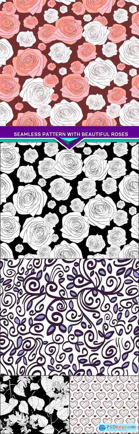 Seamless pattern with beautiful roses 5X EPS