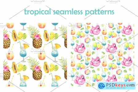 Creativemarket Tropical Pool Party Watercolor set