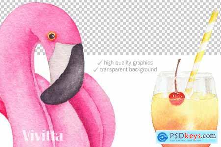Creativemarket Tropical Pool Party Watercolor set