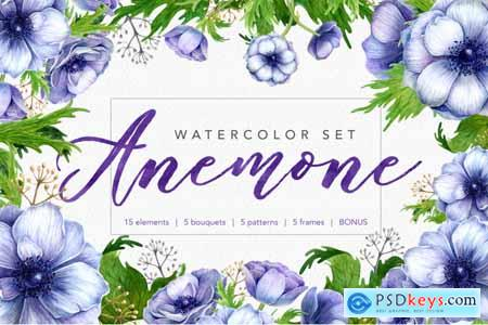 Thehungryjpeg Watercolor anemone set