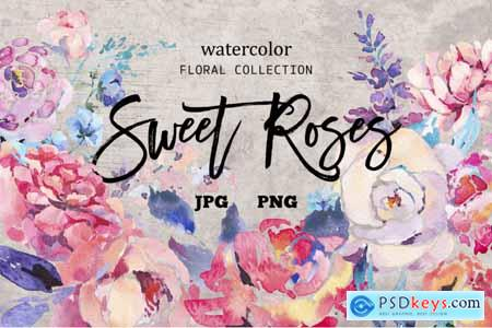 Thehungryjpeg Watercolor Sweet Roses