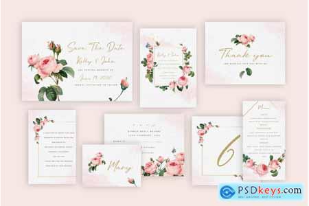 Thehungryjpeg Rose Wedding Invitation Suite